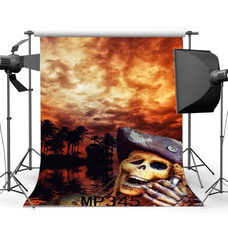 GreenDecor Polyster 5x7ft Photography Backdrop Halloween Horror Night Magic Forest Horrible Skull Red Cloud Scene Masquerade Background Studio Prop (Inside The Magic Halloween Horror Nights)
