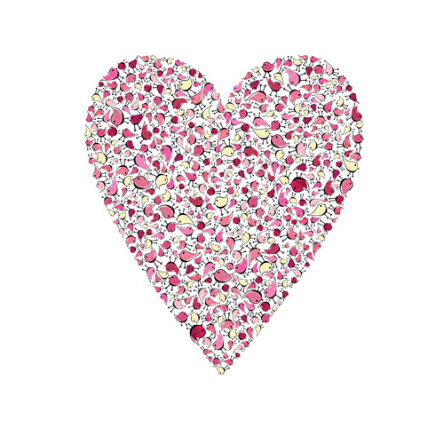 Cici Art Factory Lotsa Alphabet Art Heart Birdies Paper Print