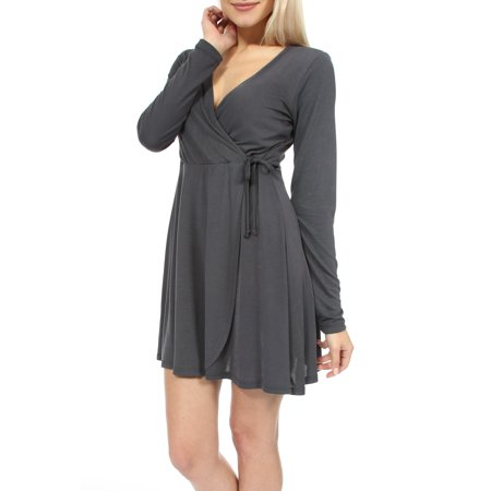 Teeze Me | Long Sleeve V-Neck Surplice Party Dress | Charcoal](Xl Teeze)