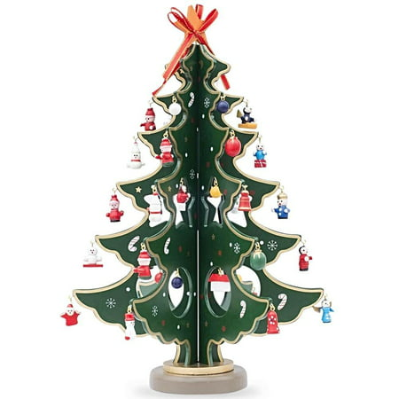 125 wooden tabletop christmas tree with miniature christmas ornaments - Walmart Small Christmas Tree