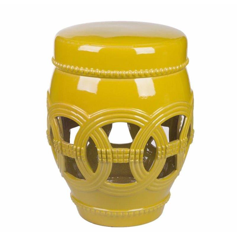 Abbyson Living Ceramic Oversized Garden Stool in Yellow