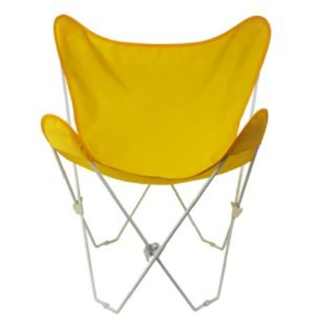 35†Retro Style Outdoor Patio Butterfly Chair with Sunny Yellow Cotton Duck Fabric Cover