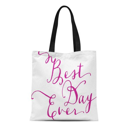 LADDKE Canvas Tote Bag Welcome Best Day Ever Wedding Personalized Guests Town Custom Reusable Handbag Shoulder Grocery Shopping