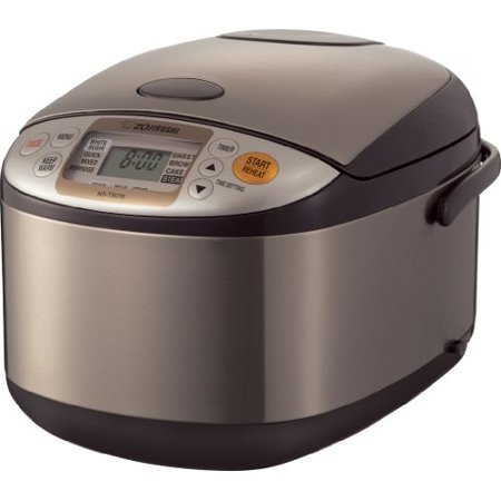 Zojirushi NS-TSC18XJ Micom Rice Cooker & Warmer with Steam Basket, 10 Cup (Uncooked), Stainless Brown