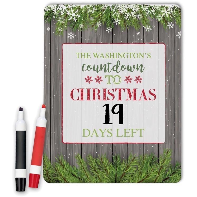 Countdown To Christmas Custom Dry Erase Memo Board