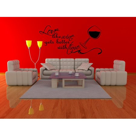 Love Like Wine Gets Better With Time Couples Vinyl Wall Decal Quotes Wall Stickers Love Decals Home Decor Decals - Qute Couple