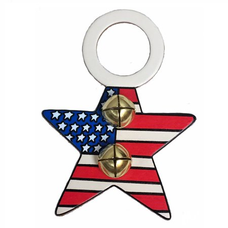 Patriotic Star Red White Blue Leather Sleigh Bell Door Knob Hanger Made in USA ()
