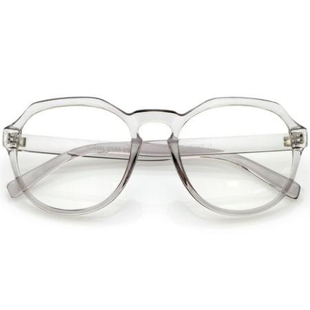 Modern Keyhole Nose Bridge Clear Lens Round Eyeglasses 55mm (Smoke / Clear) (Bridge Support For Eyeglasses)