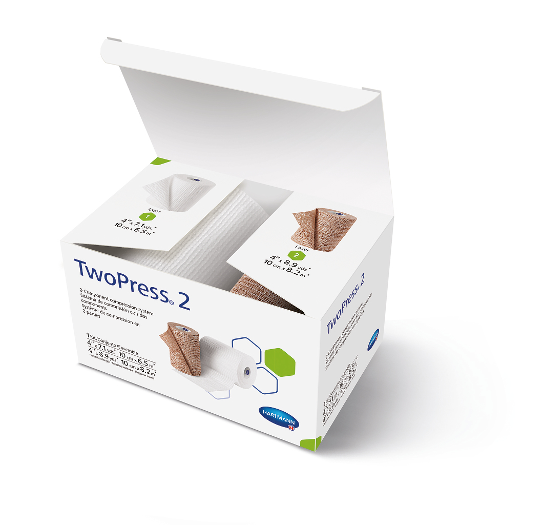 TwoPress 2, 2 Layer Compression Bandage System 1 Each, Tan/White