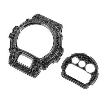 Black Onyx Bezel - DW6900 G Shock Watch Custom Iced Out Black Plate Set Onyx Lab Created Cubic Zirconia Bezel Sale