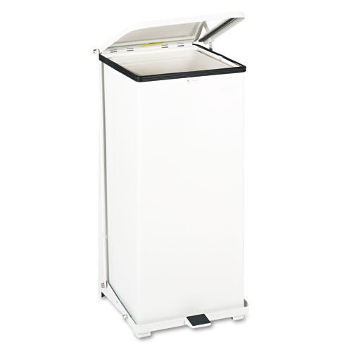Rubbermaid Commercial Defenders Biohazard Step Can, Square, Steel, 24gal, White by RUBBERMAID COMMERCIAL PROD.