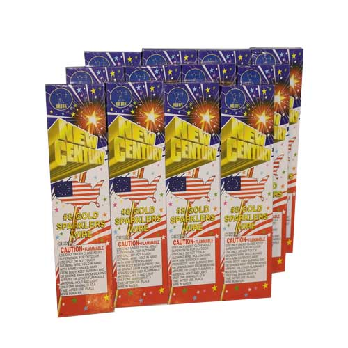72pc Gold Party Sparklers, 7.5in, 12 boxes of 6 Sparklers
