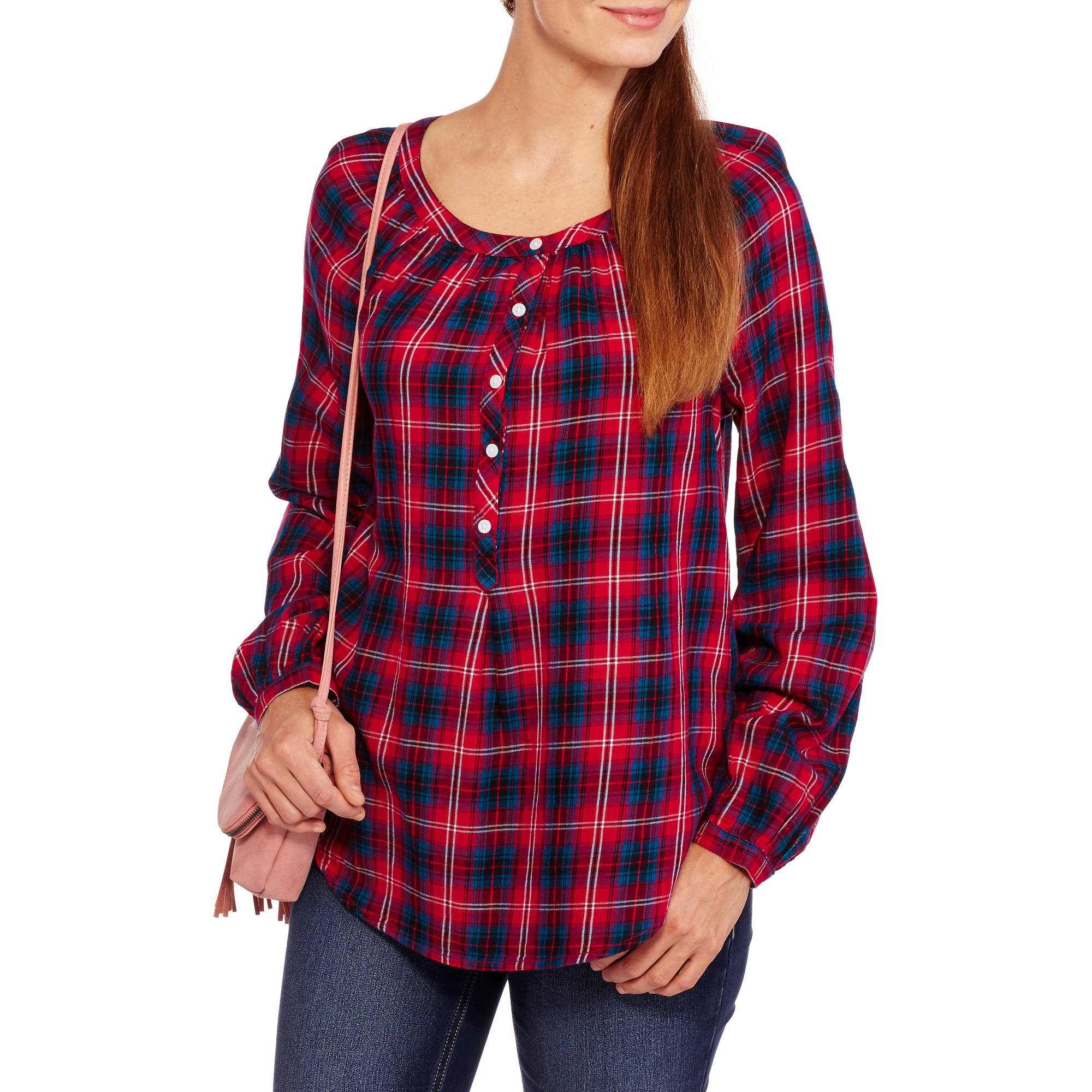 Faded Glory Women's Popover Plaid Shirt