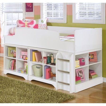 Ashley Lulu Wood Twin Cubby Storage Loft Bed In White