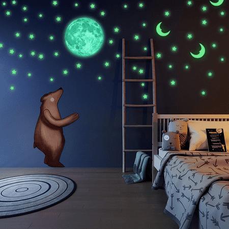 100pcs Self-Adhesive Cute 3D Glow Sticker Wall Sticker Handmade Practical Moon In Star Luminous glowingsticker Home Decor Room Decal Mural Vinyl Art DIY Non-toxic