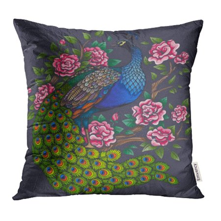 ARHOME Blue Abstract Color Vintage Peacock Roses Colorful Adult Animal Beautiful Bird Pillowcase Cushion Cases 18x18 inch