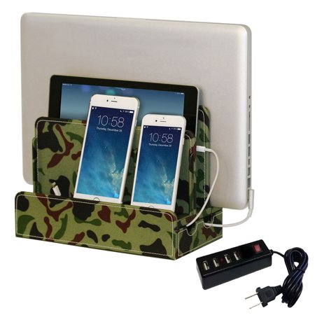 G U S Multi Device Charging Station Dock Organizer For Laptops Tablets And Phones Strong Build Camo Canvas With 4 Port Usb Strip