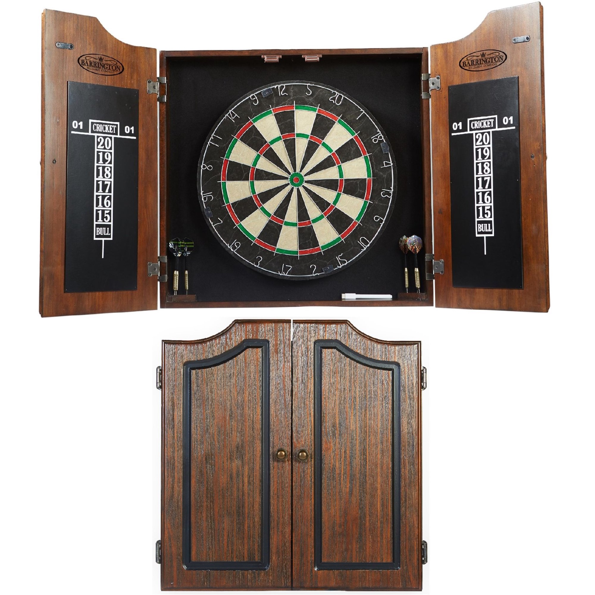 Barrington Premium Bristle Pre-assembled Dartboard Cabinet Set