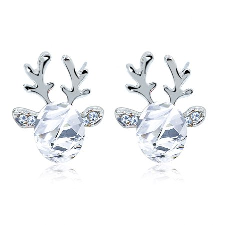 Deer Ears (1pair Women Fashion Elegant 3D Artificial Crystal Deer Horn Design Earring All-match Ear)