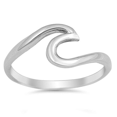 Oxidized Wave Design Ring - Wave Design .925 Sterling Silver Ring Sizes 2-10