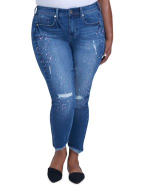 Product Image Women s Plus Size Skinny Jean with Shredded Hem and Scattered  Gemstones e76d81a52
