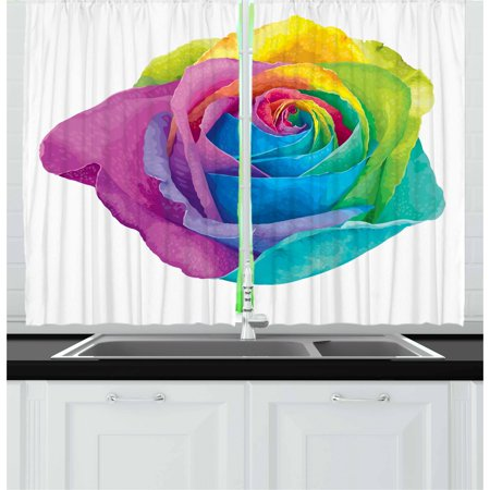 Vintage Rainbow Curtains 2 Panels Set, Romantic Blooming Rose with Colorful Petals Love Flower Valentine's Day, Window Drapes for Living Room Bedroom, 55W X 39L Inches, Multicolor, by