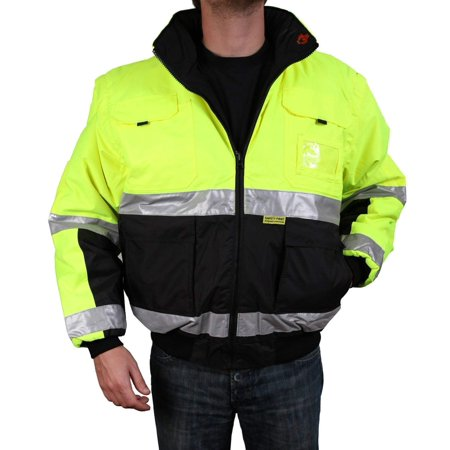 Safety Depot Safety Jacket Class 3 ANSI Approved 8 Pockets, Reversible Clear ID Pocket, Detachable Hood & 4 Pen Divider slots 350C (Lime, Large) Reversible Hooded Bomber