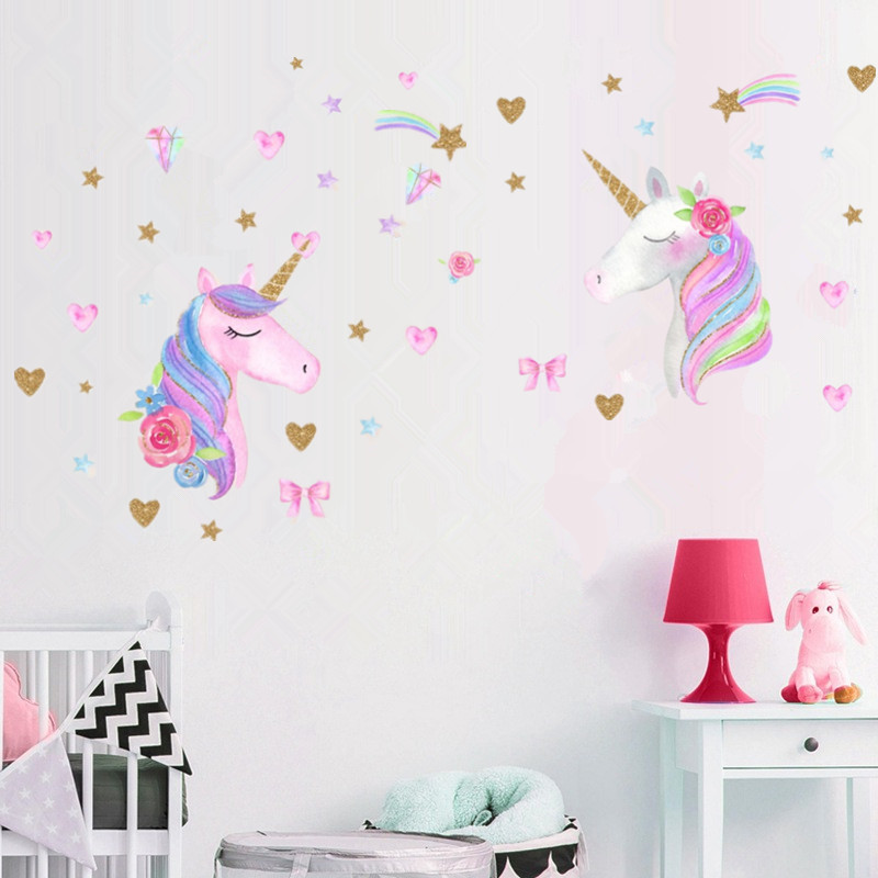 3 Types Cartoon Cute Pink Horse Wall Stickers Animals Flower Removal Wall Decals Kids Living Room Bedroom Decor Walmart Canada