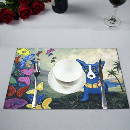 MYPOP Rodrigue blue dog Kitchen Table Mat Placemats for Dining Table 12x18 inches