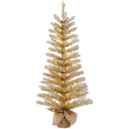 Vickerman 48 Champagne Tinsel Artificial Christmas Tree with 100 Clear Lights