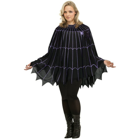 Spider Web Poncho Black/Purple Solid Pack Plus Size Halloween Costume - Spider Eye Halloween