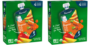 (2 Pack) Gerber 2nd Foods Organic Baby Food, Carrots, Apples & Mangoes, 3.5 oz. Pouch (Pack of 4)