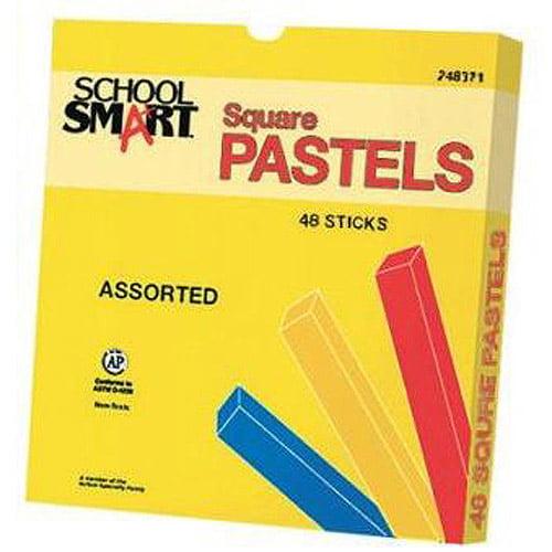 School Smart Square Pastel Drawing Stick Sets, Set of 48