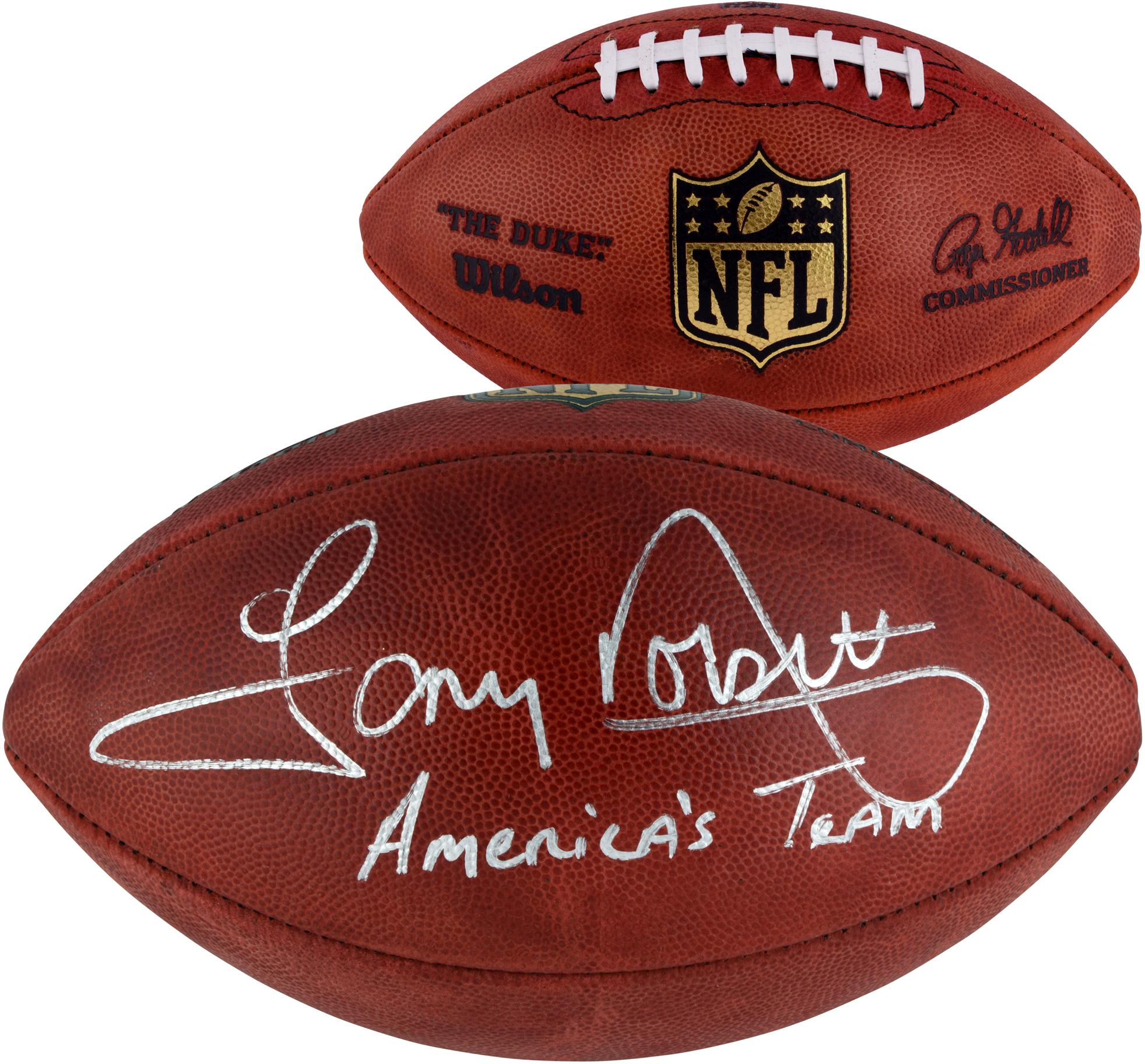 Tony Dorsett Dallas Cowboys Autographed Duke Football with Americas Team Inscription