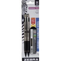Zebra Pen Zebra Steel mechanic pencil, black grip, 2-pack, bonus lead refills