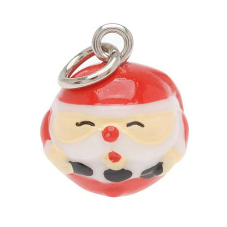 Holiday Jewel Collar Charms (Hand Painted Round Santa Claus Christmas Holiday Jewelry Charm 16mm)