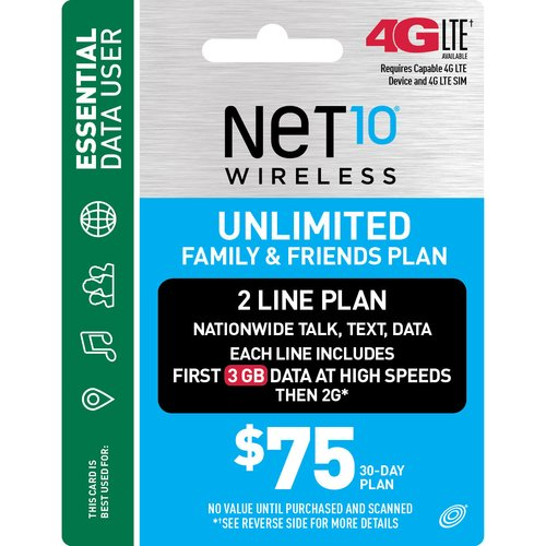 NET10 Wireless $75 30-Day Unlimited Family and Friends 2-Line Plan Prepaid Phone Card