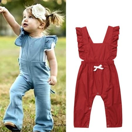 c0794ac46e4b Casual Baby Girl Kids Ruffle Romper Overalls Long Pants Outfit ...