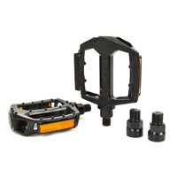 Snafu Dominator Black Bike Pedals with 9/16 Inch Axle Adapter
