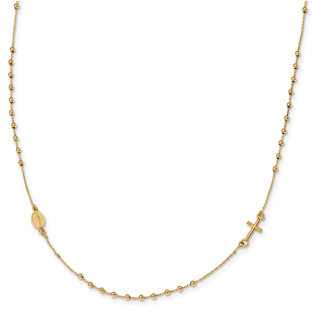 """Lex & Lu 14k Yellow Gold Polished 16"""" Cross Rosary Necklace LAL117876 by"""