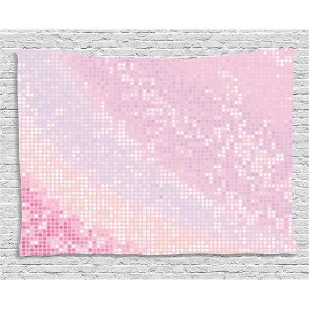 Modern Tapestry, Abstract Pattern in Pastel Pink Tones Disco Ball Style Party Theme Artwork, Wall Hanging for Bedroom Living Room Dorm Decor, 60W X 40L Inches, Light Pink Baby Pink, by Ambesonne
