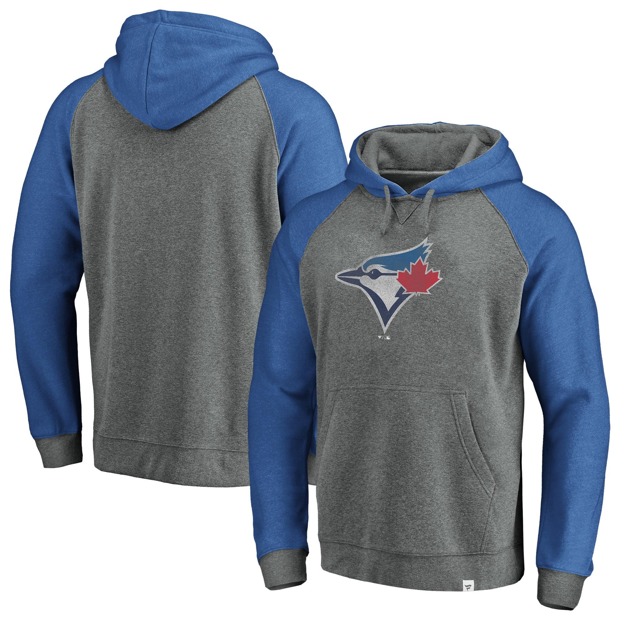 Toronto Blue Jays Fanatics Branded Team Logo Tri-Blend Pullover Hoodie - Gray/Royal