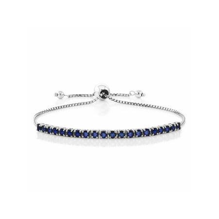 Blue Sapphire Quartz Bracelet - Blue Sapphire 925 Sterling Silver Fully Adjustable Tennis Bracelet, 2.50 Cttw
