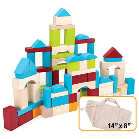 Imagination Generation 100-piece Natural Wood Building Blocks Set with Canvas Carry - Word Blocks