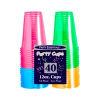 Neon Blacklight Reactive 12 Ounce Soft Plastic Party Cups - 40 count