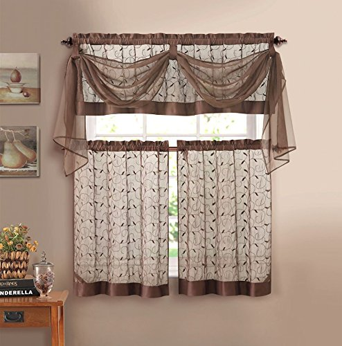 Linen Leaf 4 Piece Kitchen Curtain Set By Victoria Classics (Chocolate)