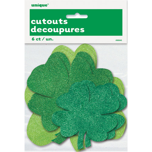 Paper Cutout Shamrock St. Patrick's Day Decorations, 6 Count