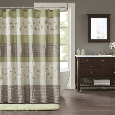 Home Essence Shannon Embroidered Pieced Shower Curtain