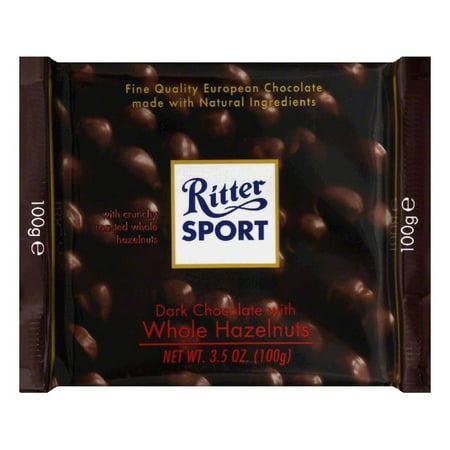 Ritter Sport Chocolate Bar Dark Whole Hazelnut, 3.5 OZ (Pack of 10) - Chocolate Sports Balls