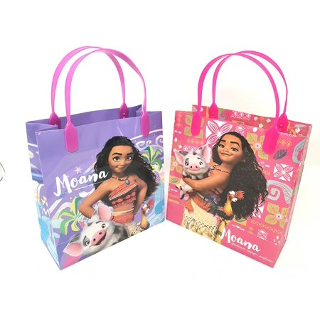 8IN Disney Moana 12 Pcs Goodie Gabs Party Favor Bags Gift Birthday Materials Made Of High Quality And Durable Plastic By